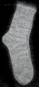 Socks - White Angora Nylon Blend, and Grey Kid Mohair