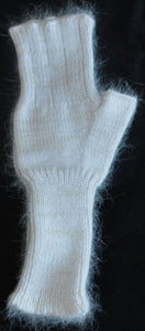 Fingerless Mitts - White Angora Nylon Blend and Merino Wool