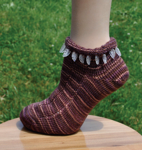 Sock Machine Sock Patterns - Beaded Leaf Top Socks