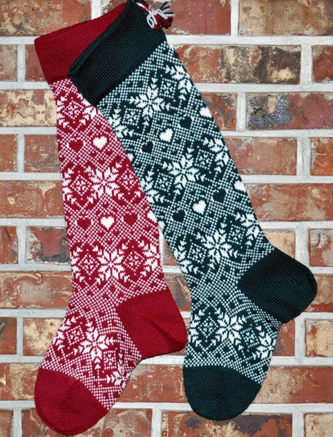 Large Two Matching Personalized Knit Wool Christmas Stockings - Snowflakes and Hearts