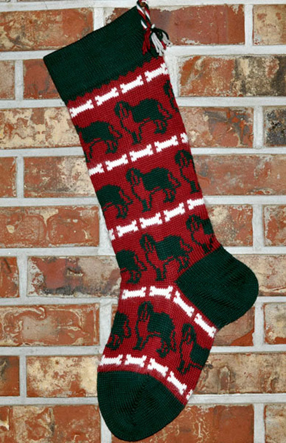 Large Personalized Knit Wool Christmas Stocking - St. Bernard