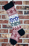 Large Knit Personalized Wool Christmas Stockings - Heirloom Quality! With or Without Angora Trim