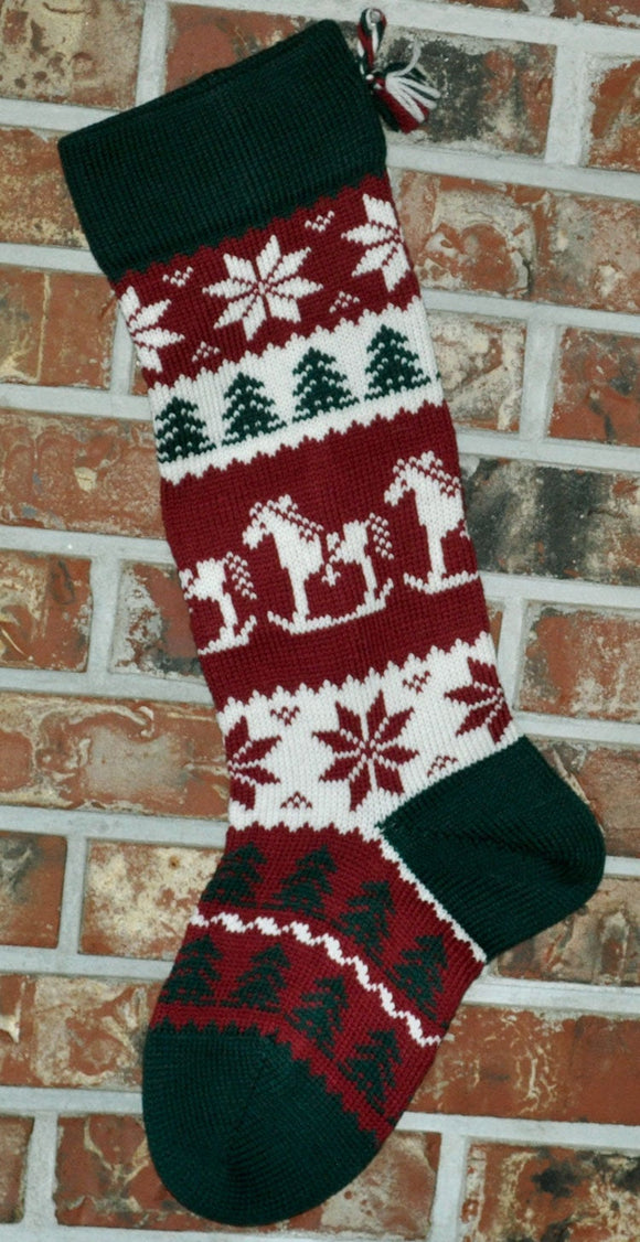 Large Personalized Knit Wool Christmas Stocking - Rocking Horse with Patterned Foot