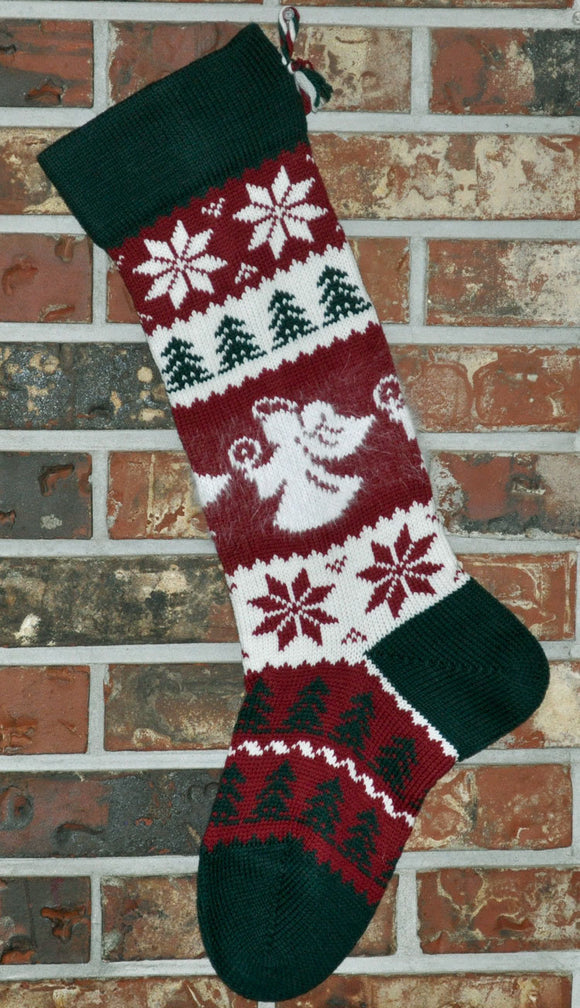 Large Personalized Knit Wool Christmas Stocking - Christmas Angels