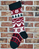Large Knit Personalized Wool Christmas Stockings - Matching Christmas Stockings With or Without Angora Trim.