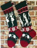Large Knit Personalized Wool Christmas Stockings - Male, Female Golf Pair