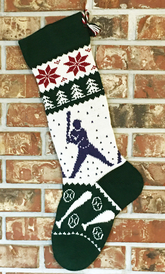 Large Personalized Knit Wool Christmas Stocking - Baseball