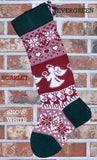 Large Knit Personalized Wool Christmas Stocking - Angels and Reindeer