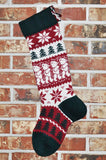Large Personalized Knit Wool Christmas Stocking - Angora Teddy Bear
