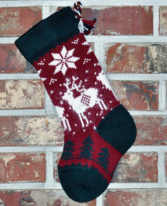 Small Knit Wool Christmas Stocking - Angora Reindeer
