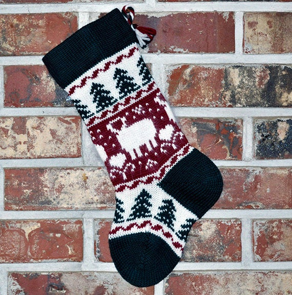 Small Knit Wool Christmas Stocking - Angora Lambs