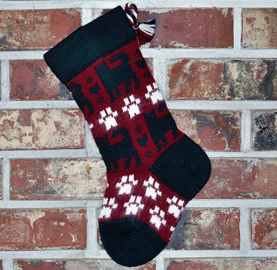 Small Knit Wool Christmas Stocking - Cats & Paws
