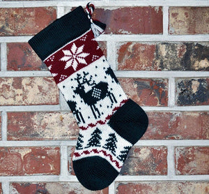 Small Knit Wool Christmas Stocking - Reindeer