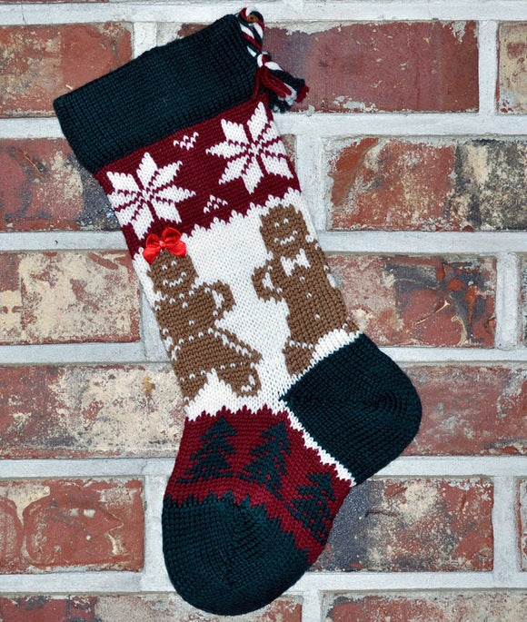 Small Knit Wool Christmas Stocking - Gingerbread People