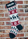 Large Personalized Knit Wool Christmas Stocking - Reindeer