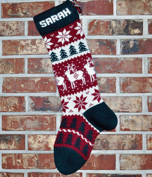 Large Personalized Knit Wool Christmas Stocking - Angora Reindeer