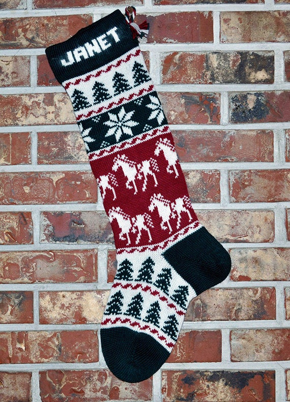 Large Personalized Knit Wool Christmas Stocking - Horses & Snowflakes