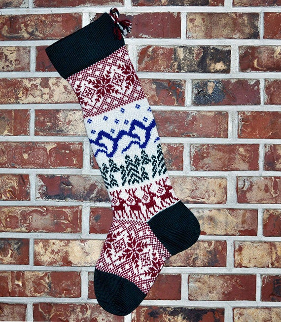 Large Personalized Knit Wool Christmas Stocking - Scandinavian