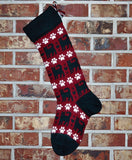 Large Personalized Knit Wool Christmas Stocking- Cats & Paws