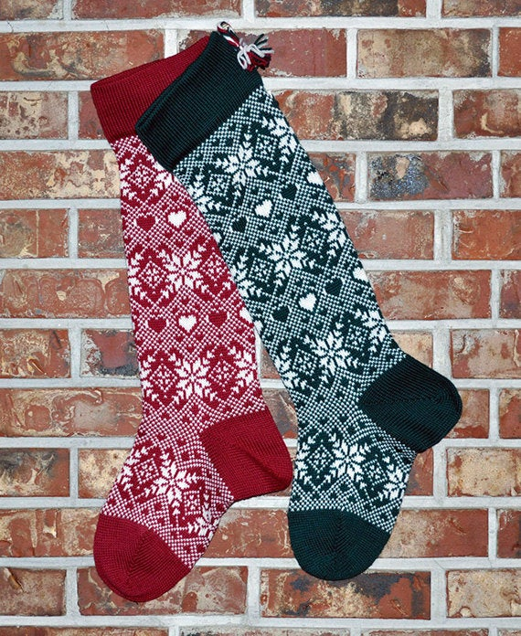 Large Personalized Knit Wool Christmas Stocking - Snowflakes & Hearts - EVERGREEN