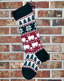 Large Personalized Knit Wool Christmas Stocking- Angora Lambs