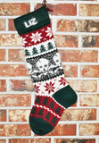 Large Personalized Knit Christmas Stocking - Skulls - U.S. Wool & French Angora Trim