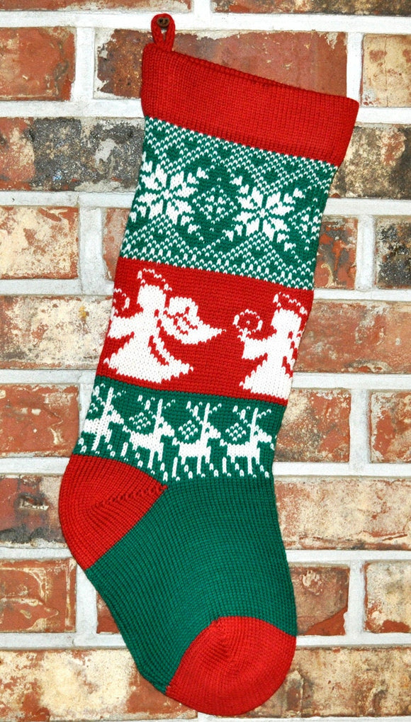 Medium Knit Personalized Wool Christmas Stocking - Angels and Reindeer