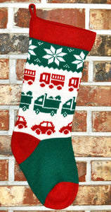 Medium Personalized Knit Wool Christmas Stocking - Cars and Trucks