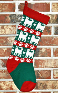 Medium Knit Personalized Wool Christmas Stocking - Christmas Cats