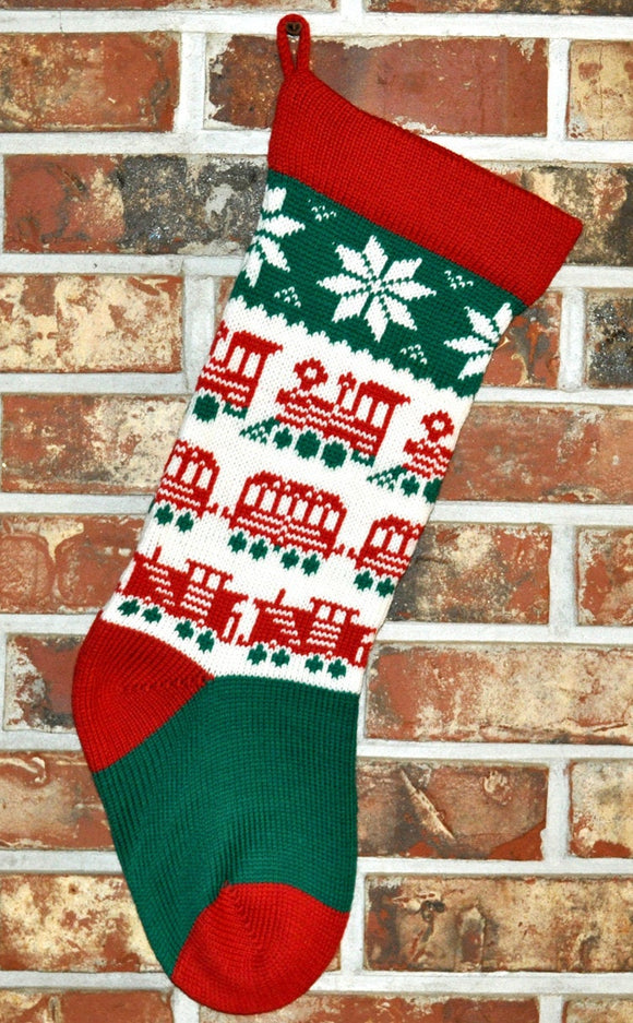 Medium Knit Personalized Wool Christmas Stocking - Trains