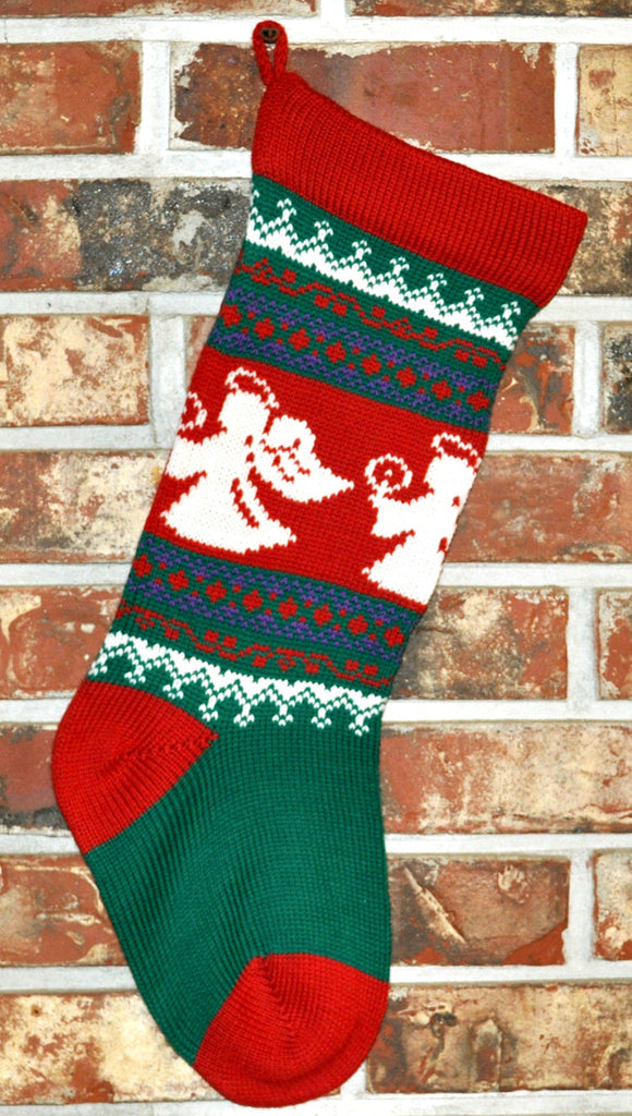 Medium Knit Personalized Wool Christmas Stocking - Angel