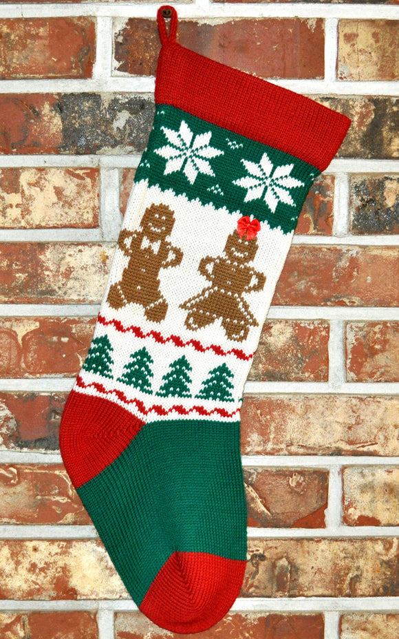 Medium Knit Personalized Wool Christmas Stocking - Gingerbread Men and Women