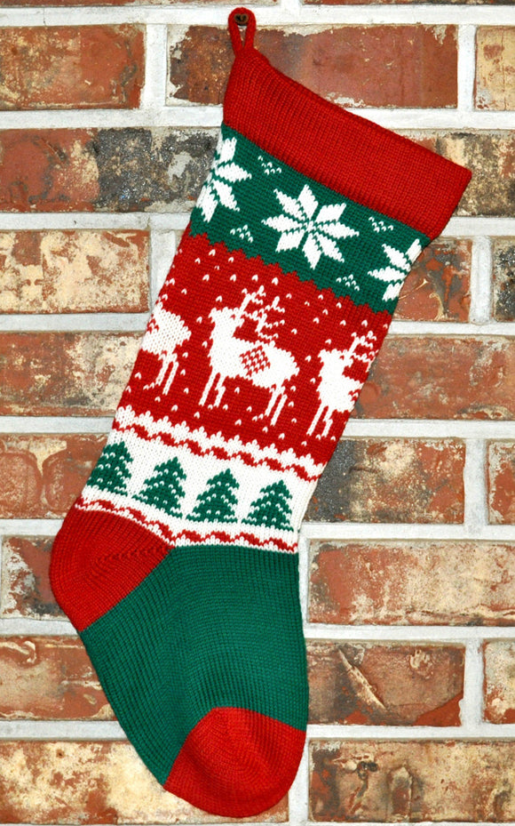 Medium Knit Personalized Wool Christmas Stocking - Reindeer