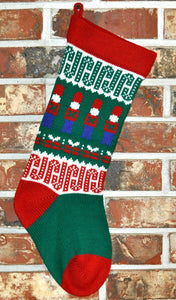 Medium Knit Personalized Wool Christmas Stocking - Toy Soldier