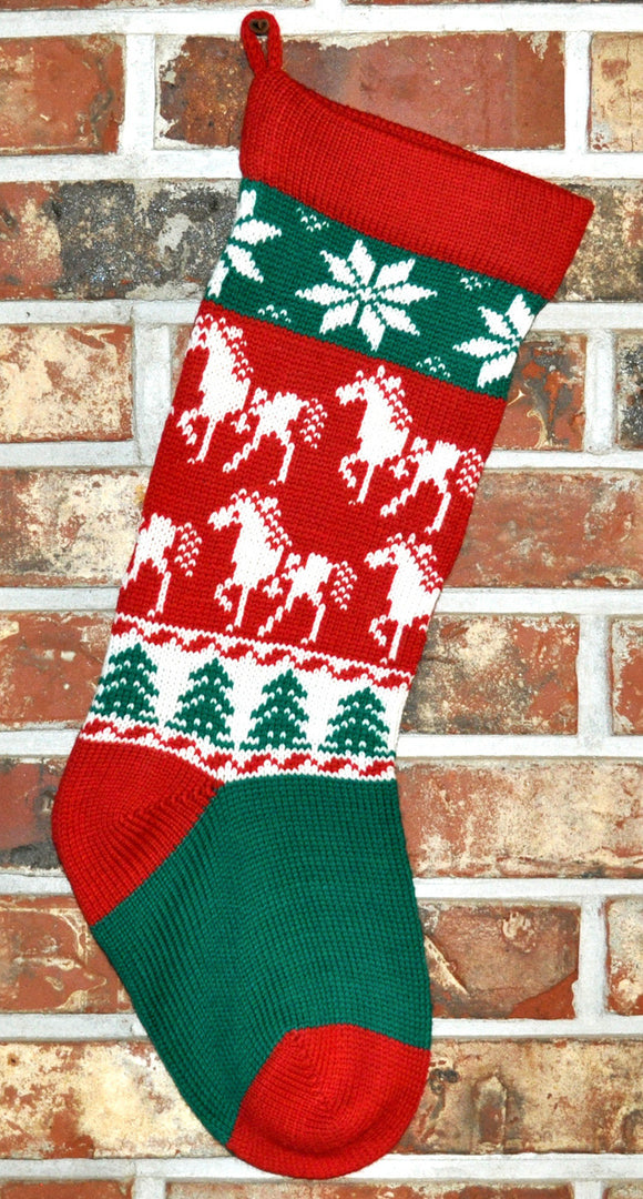 Medium Knit Personalized Wool Christmas Stocking - Christmas Horses