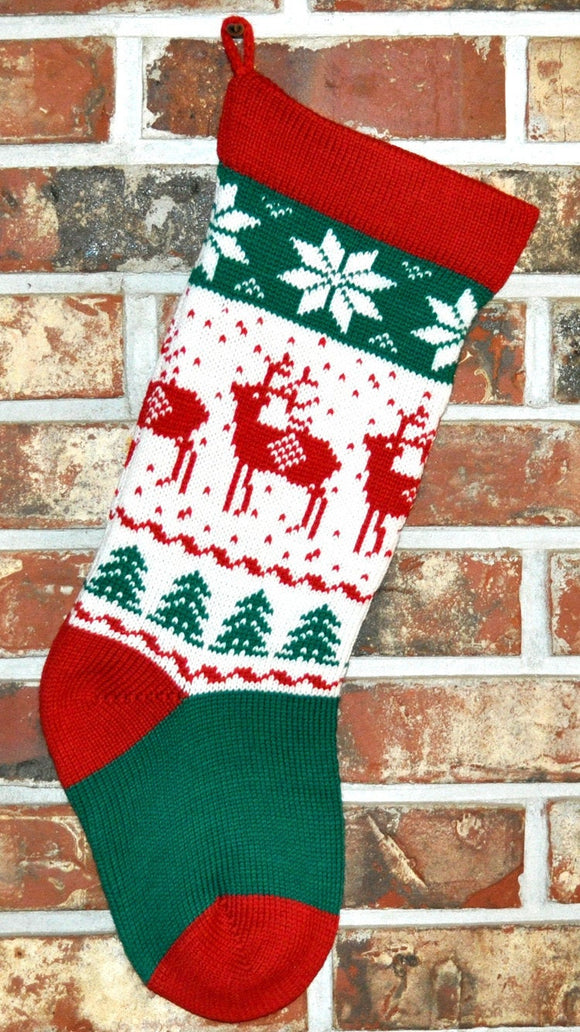 Medium Knit Personalized Wool Christmas Stocking - Christmas Reindeer
