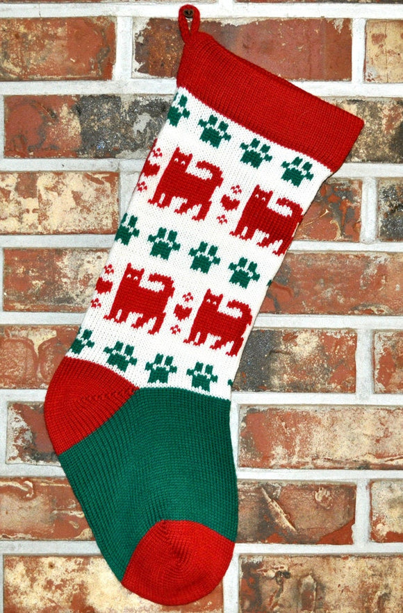 Medium Knit Personalized Wool Christmas Stocking - Red Christmas Cats