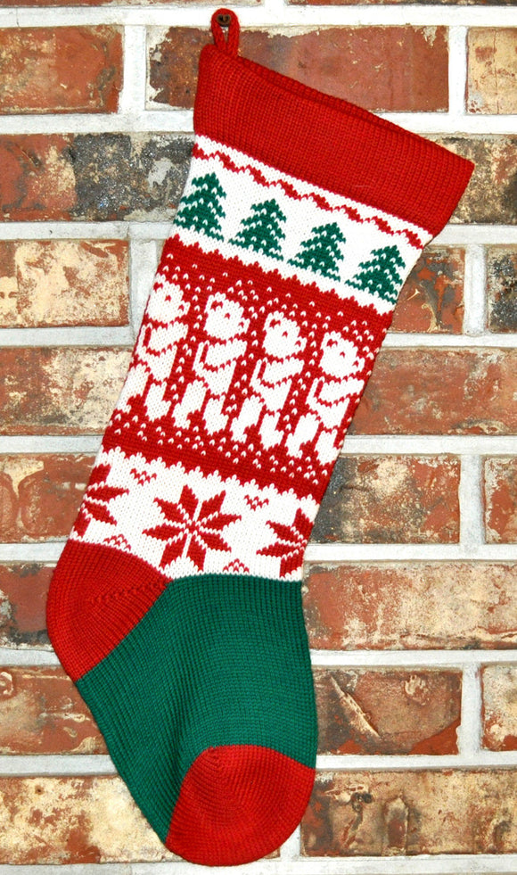 Medium Knit Personalized  Wool Christmas Stocking - Teddy Bears