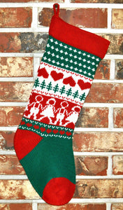 Medium Knit Personalized Wool Christmas Stocking - U.S. Christmas