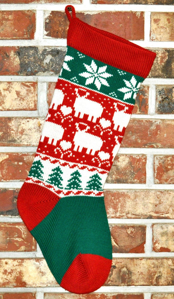 Medium Knit Personalized Wool Christmas Stocking - Christmas Lambs