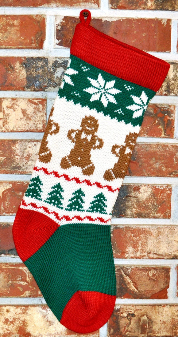 Medium Knit Personalized Wool Christmas Stocking - Gingerbread Men