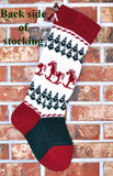 Large Personalized Knit Wool Christmas Stocking - Rocking Horses