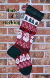 Large Personalized Knit Wool Christmas Stocking - Snowman