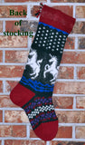 Large Personalized Knit Wool Christmas Stocking- Angora Unicorns