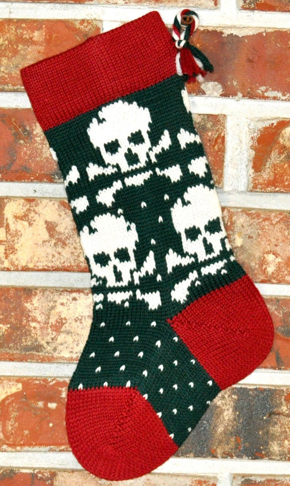 Small Knit Wool Christmas Stocking - White Skulls with Red Trim