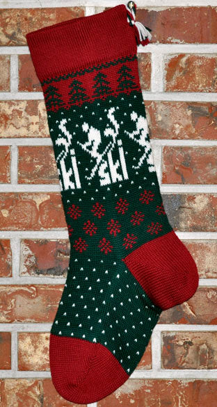 Large Personalized Knit Wool Christmas Stocking - Skier