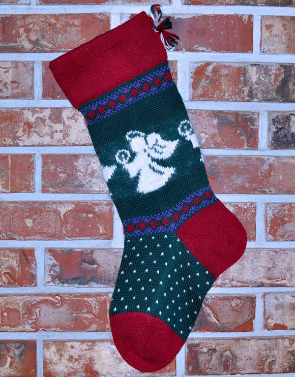 Large Knit Personalized Wool Christmas Stocking - Angels