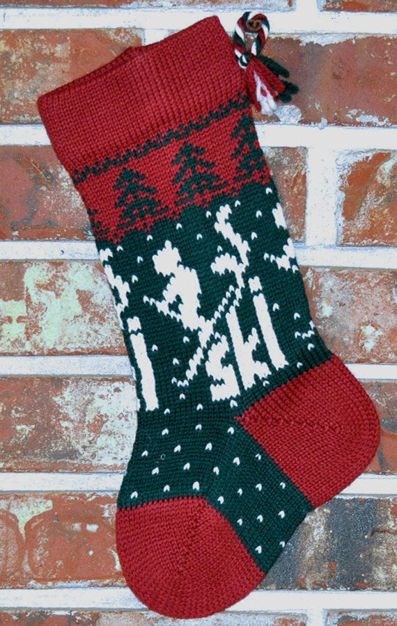 Small Knit Wool Christmas Stocking - Skier