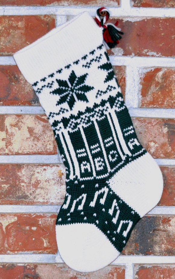 Small Knit Wool Christmas Stocking - Books with White Trim