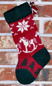 Small Knit Wool Christmas Stocking - Rocking Horse with Patterned Foot